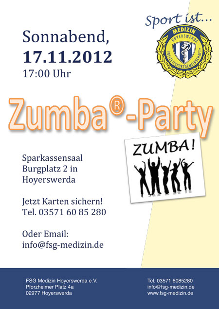 Plakat zur Zumba-Party in Hoyerswerda